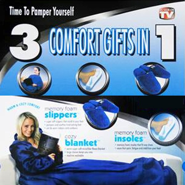 Microfiber Sleeved Blanket 3 in 1 Set