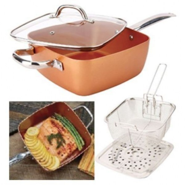 5 in 1 Copper Square Pan