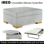 iBED Convertible Ottoman Guest Bed - Grey