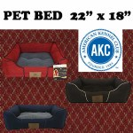 AKC Solid Print Dog Bed